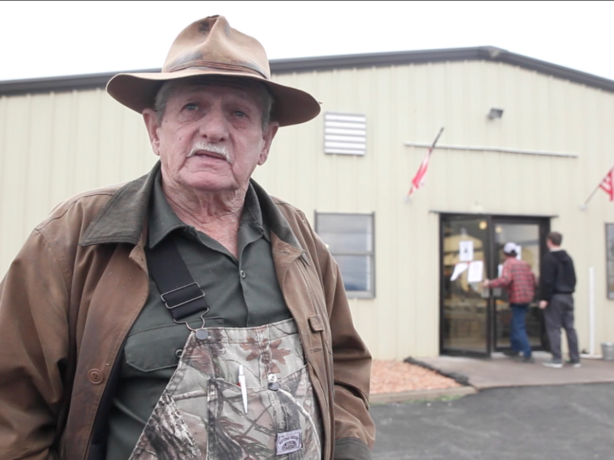 Don Shumaker, president of the Virginia Trappers Association, conducts an interview with The News Leader outside Augusta Expo during the organizations annual fur auction on Saturday, March 14, 2015.