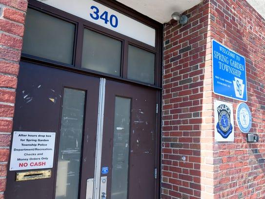 The police department entrance at the Spring Garden
