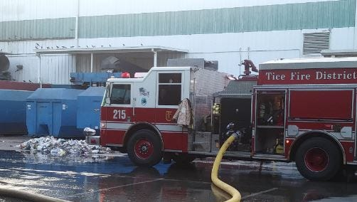 Crews from four fire districts responded to put out a three-alarm fire in the Lee County trash-to-energy facility in Buckingham Saturday afternoon.