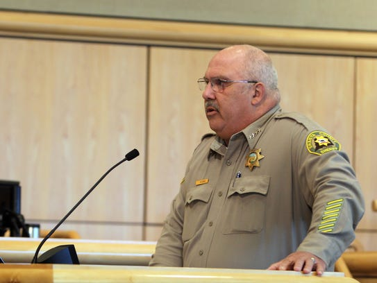 Shasta County Sheriff Tom Bosenko speaks to the Board