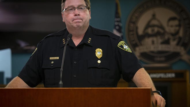 Springfield Police Chief Kenny Winslow provides an update on the workplace shooting at Bunn-O-Matic that left three people dead during a press conference in the City Council chambers, Wednesday, July 1, 2020, in Springfield, Ill.