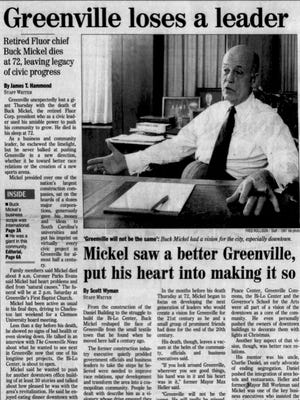 An article from the front page of The Greenville News on July 24, 1998.