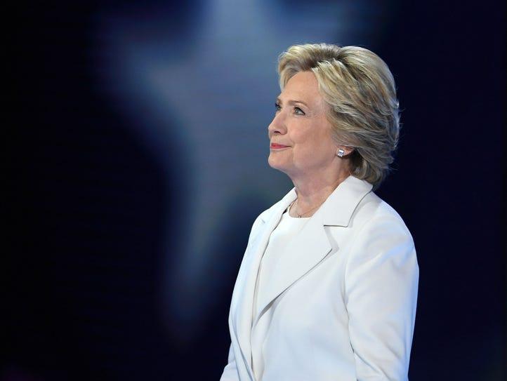 Democratic presidential nominee Hillary Clinton accepts