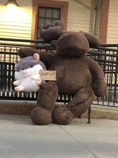 Hitting the road, or the track. Two stuffed pals found at Kohlrauch Park in Billerica on Tuesday, July 21, found their way to the North Billerica MBTA Commuter Rail station on Wednesday, July 22. Boston bound maybe?