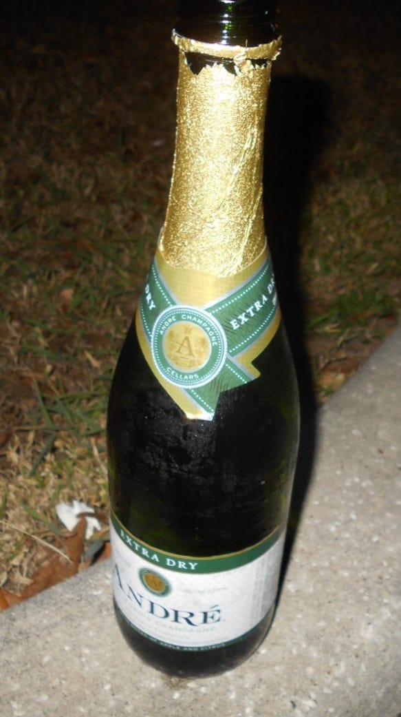 Champagne bottle from case