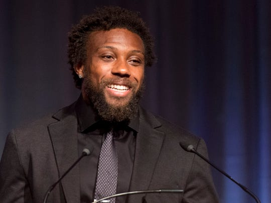 Kansas City Chiefs safety and former Tennessee player Eric Berry addresses guests after receiving the 2016 Pat Summitt Ignite Greatness Award during the Greater Knoxville Sports Hall of Fame Dinner and Induction Ceremony at the Knoxville Convention Center on Tuesday, July 26, 2016. (SAUL YOUNG/NEWS SENTINEL)