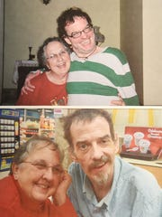 Phyllis Shoemaker and her son Sherman Phillip Shoemaker in two family photos taken less than a year apart. The top photo is from December 1, 2010, the bottom shows the progression of the effects of Huntington's disease less than a year later on in September 2011. Sherman was 49 when he died.