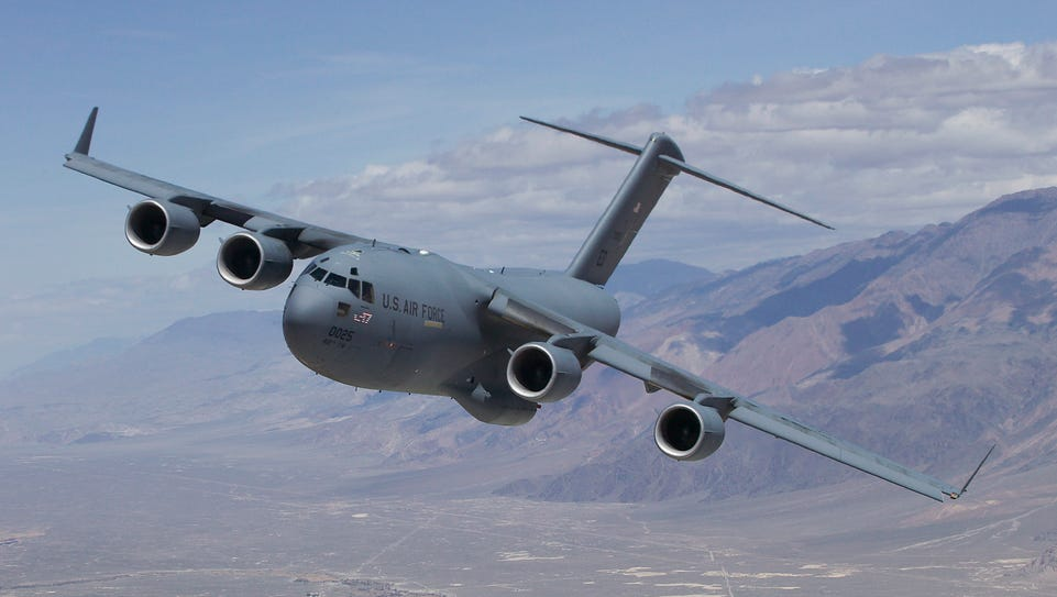 An Air Force C-17 took off Monday from Dover Air Force