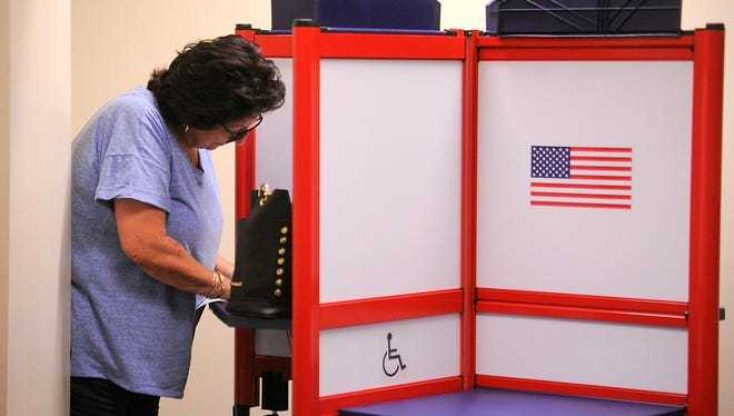 FILE PHOTO/THE STAR Port Hueneme voter Ruth Martinez cast her ballot in a recent election at the Ventura County Government Center in Ventura.