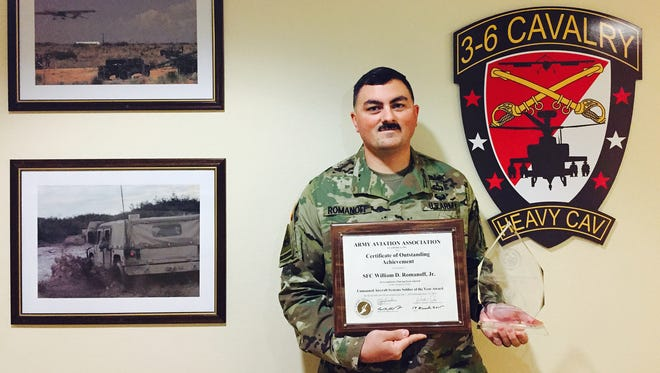Sgt. 1st Class William Romanoff was named the Unmanned Aircraft Systems Soldier of the Year. He is a member of the 3rd Squadron, 6th Cavalry Regiment.