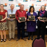 The Silver City/Grant County Chamber of Commerce presented its Community Awards on Thursday during the annual banquet. The Big Business of the Year award went to David Crosley and Teresa Dahl-Bredine, owners of Little Toad Creek Brewery; Volunteer of the Year was Ansel Walters; Humanitarian of the Year was Randy Salars of the Silver City Gospel Mission; Priscilla Lucero was named Citizen of the Year; Small Business of the Year was the Grant County Beat, owned by Mary Alice Murphy; and Bruce Ashburn of the Chamber of Commerce presented the awards.