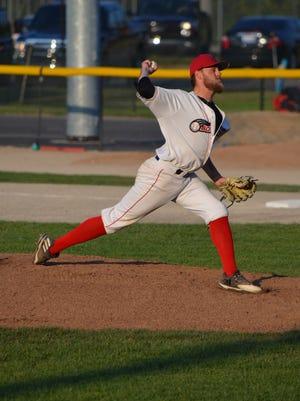 Battle Creek Bombers starting pitcher Dakota Edwards in Game 3 of Northwoods League World Series.