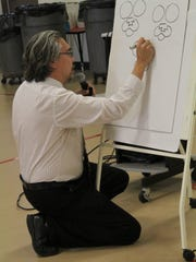 "Bruel demonstrates how he draws his Bad Kitty character for his ""Bad KItty"" books."