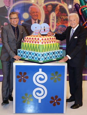 Bob Barker and Drew Carey on 'The Price is Right' set on Dec. 5, 2013.