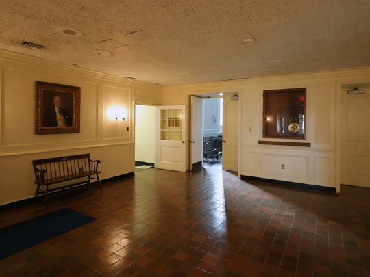 The interior lobby of Rye City Hall.