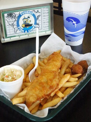 The Fish and Chips Meal is the go-to order at Tugboat London Style Fish & Chips in Northeast El Paso. The meal features a fish fillet, two hushpuppies, a small side of coleslaw and a drink for $7.99 at the restaurant at 5501 Dyer.