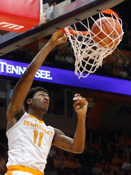 Tennessee's Kyle Alexander dunks the ball against Mississippi during an NCAA college basketball game in Knoxville, Tenn., Wednesday, Feb. 8, 2017. (Daryl Sullivan/The Daily Times via AP)