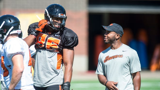 Obum Gwacham (86) practices with the rest of the Oregon State Beavers