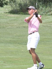 Matthew Mahlke hits an iron during round 2 of the Dutchess