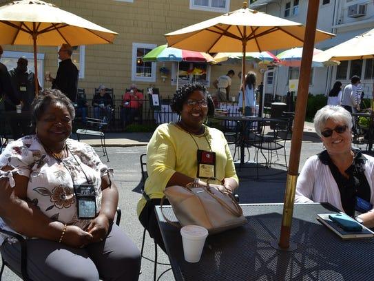 New friends Corene Davis, Kathy Moore and Melinda Farmer,