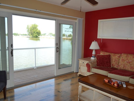 The living room of Coastal Floating Home number six