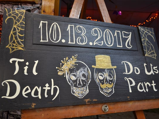 Skeletons were everywhere at Jacki Krumnow's wedding.