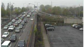 A crash slowed traffic across the Center Street bridge Wednesday morning.