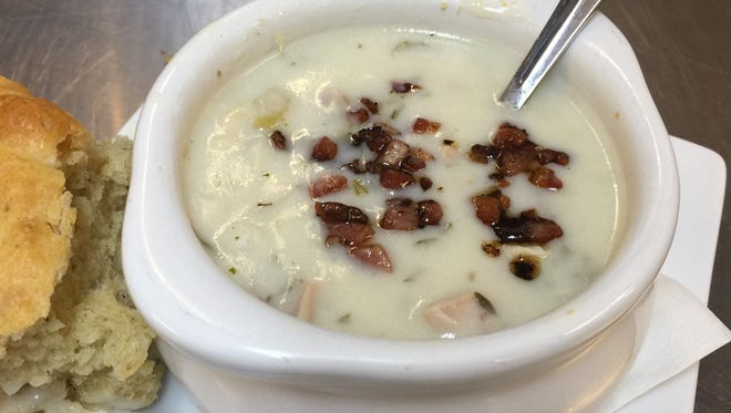 Chef Shawn Calley puts Vermont Smoke and Cure bacon in his clam chowder.