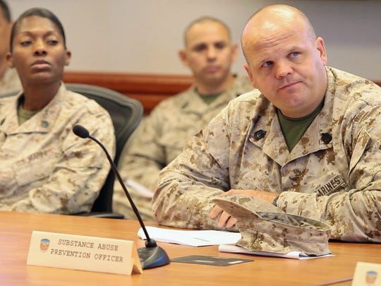 Gunnery Sgt. Isaac Lynn, who oversees substance abuse control and prevention for the Twentynine Palms base Headquarters Battalion, attends a Force Preservation Council meeting on May 9, 2013.