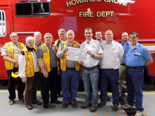 Pictured from the Howards Grove Lions, from left to right: Janet Limberg, Al Rohde, President Veryl Graf, President-Elect Ken Rohde, Wallace Leonhard, Roy Gadicke. Pictured from the Howards Grove Fire Department, from left to right: Chief Tyler Wuestenhagen, Captain Cody Fuller, Assistant Chief Scott Weber, Assistant Chief Ryan Duening, Captain Tom Weber.