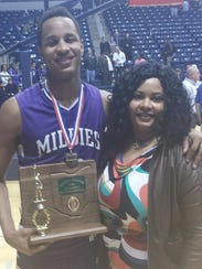 Purdue forward Vince Edwards and his mother, Glennetta
