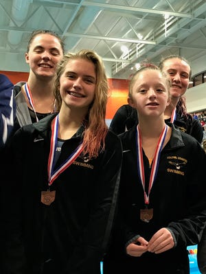 Colonel Crawford's 200 medley relay team of Kaisey Speck, Cassidy Vogt, Jillianne Gregg and Pierce Krassow finish sixth in the Division II district swim meet.