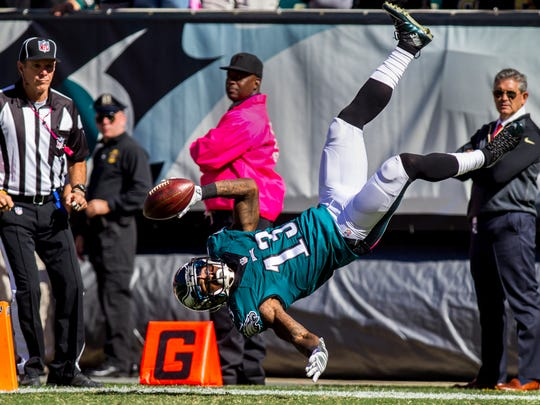 Philadelphia Eagles wide receiver Josh Huff dives and flips into the end zone in the second quarter of the Eagles 39-17 win over the Saints at Lincoln Financial Field in Philadelphia, Pa. on Sunday afternoon, October 11, 2015.