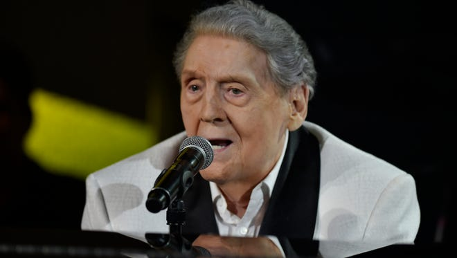 Jerry Lee Lewis performs at the tribute show in his honor Thursday, Aug. 24, 2017 at Skyville Live in Nashville, Tenn.