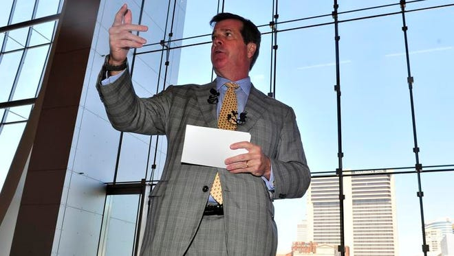 Karl Dean during a media tour of the newly constructed Music City Center on May 15, 2013, in Nashville