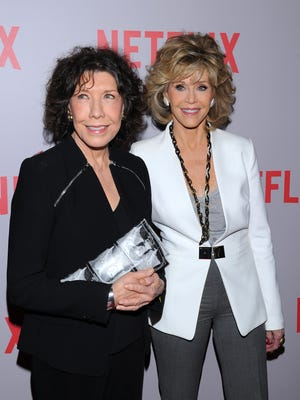 """Actors Lily Tomlin and Jane Fonda seen at the """"Grace and Frankie"""" Q&A Screening at the Pacific Design Center on May 26, 2015 in West Hollywood, CA."""