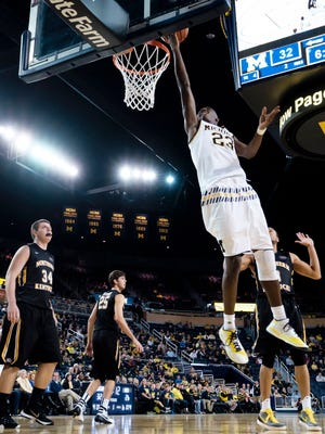 Dec 15, 2015; Ann Arbor, MI, USA; Michigan Wolverines guard Caris LeVert (23) goes to the basket in the first half against the Northern Kentucky Norse at Crisler Center. Mandatory Credit: Rick Osentoski-USA TODAY Sports