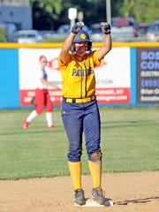 NDA's Serena Paterno celebrates her three run double against Dixie Heights.