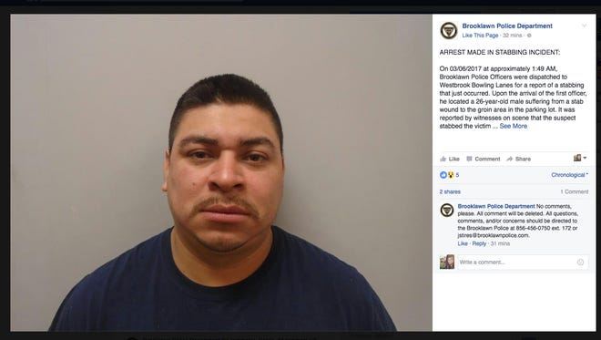 Brooklawn Police arrested Jorge Perez, 31, of Westville for allegedly stabbing a man at a bowling alley.