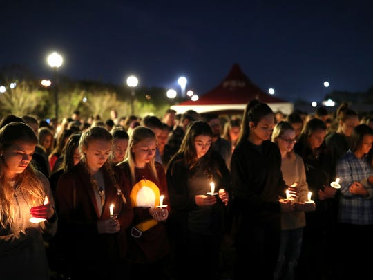 A vigil in memory of Andrew Coffey, a 20-year-old FSU civil engineering student from Pompano Beach, was held at Langford Green on the university's campus Wednesday, Nov. 15, 2017. Coffey, a pledge of FSU's Pi Kappa Phi fraternity, died on Friday, Nov. 3, 2017 after an off-campus party.