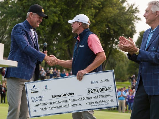Steve Stricker wins the Sanford International on Sunday, Sept. 23, 2018 in Minnehaha Country Club in Sioux Falls, S.D.