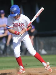 Cooper's Aaron Jonas is hit on the ankle by a pitch in the second inning.