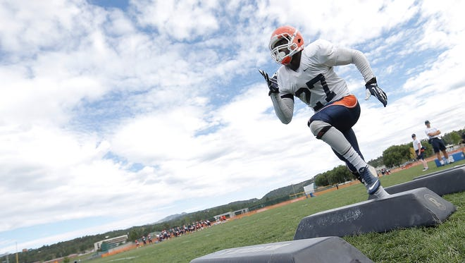 UTEP junior safety Devin Cockrell runs a high-step drill during practice Thursday at Camp Ruidoso.