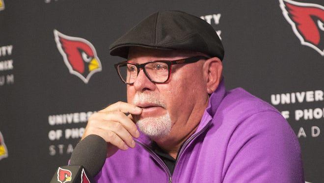 Arizona Cardinals head coach Bruce Arians announces his retirement to the media.