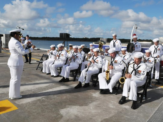 The Navy Region Southeast Band performs. The USS Indiana