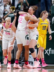 Michigan State's Lexi Gussert, left, and Michigan's