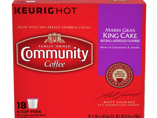 Community Coffee's Mardi Gras king cake coffee is available in K-cup pods and bagged forms.