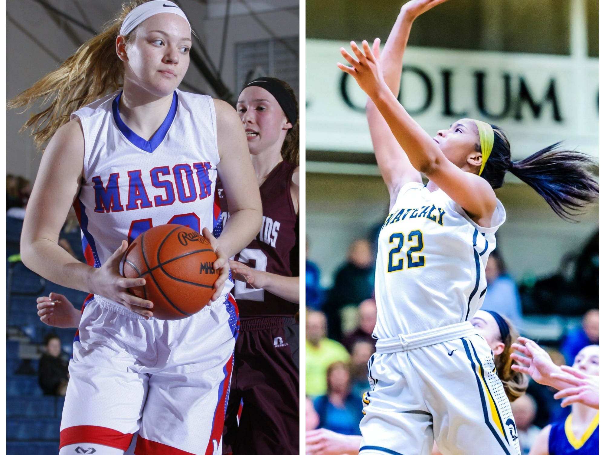 Mason's Autumn Kissman, left, and Waverly's Alisia Smith were Associated Press Class A all-state selections.