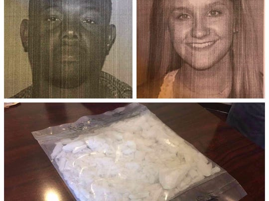 Moses McLaurin, top left, and Tori Franklin are under arrest after authorities found almost a pound and a half of crystal methamphetamine in McLaurin's residence on Lady Catherine Road in Pelahatchie.