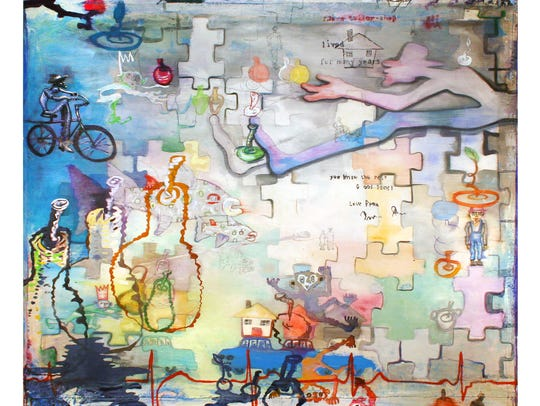 """Andy Saftel, """"Many Years,"""" 2016, mixed media on canvas"""